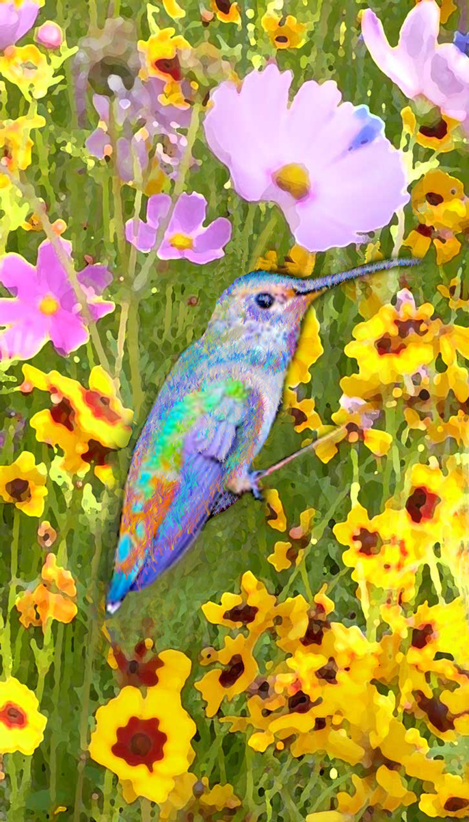 Wildflowers and Rainbow Hummer by Ushana